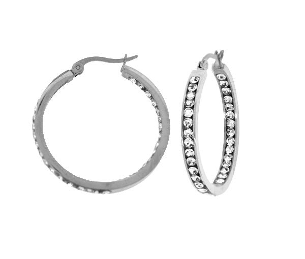 35mm Steelx Crystal Hoops