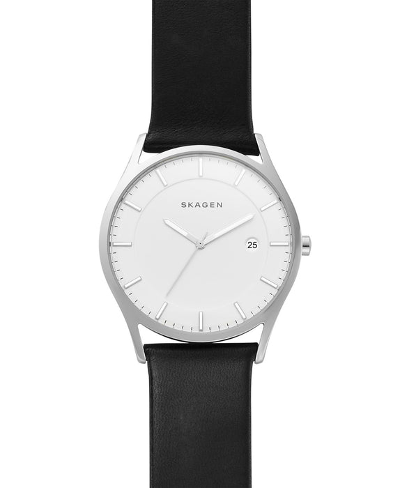 Skagen Men's Slim Holst Black Leather Strap Watch & Wallet Box Set