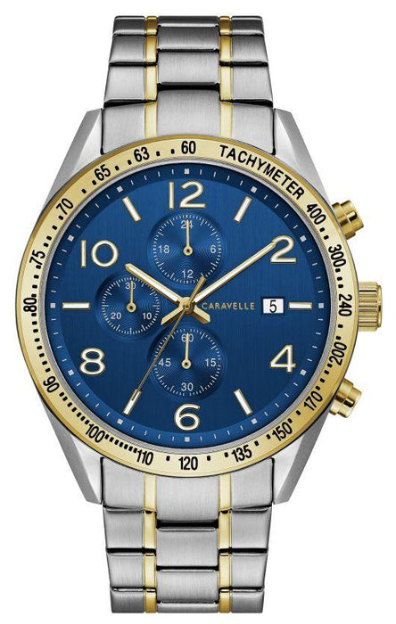 Caravelle Men's Chronograph Watch: Two Tone