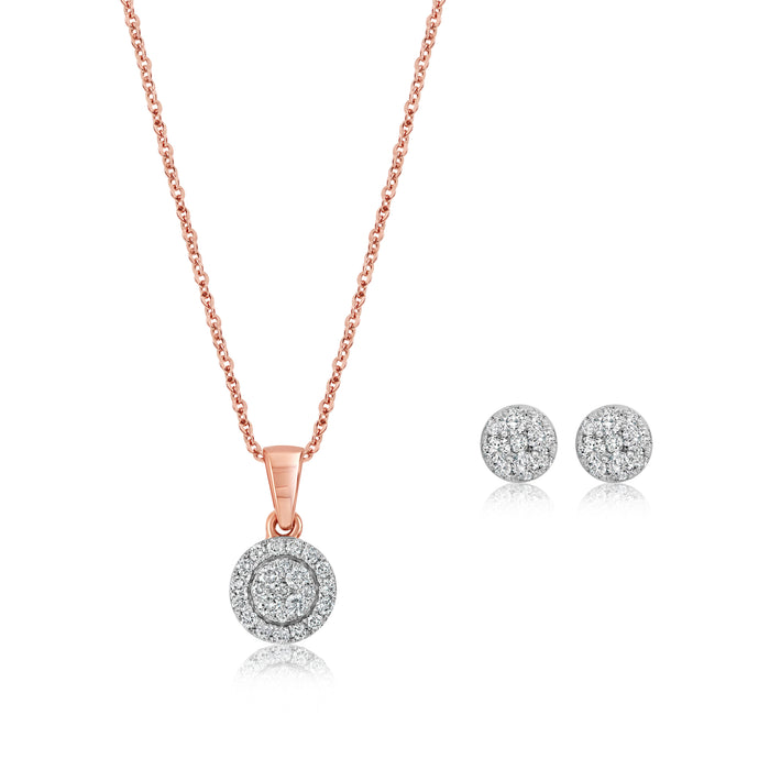 .50CT Diamond Cluster Necklace & Earring Set: Rose Gold