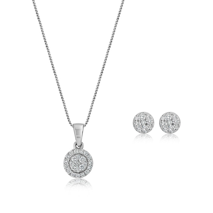 .50CT Diamond Cluster Necklace & Earring Set: White Gold