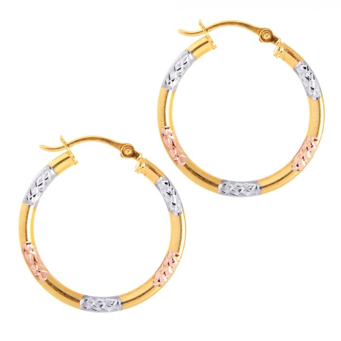 Tri Tone Diamond Cut Hoops