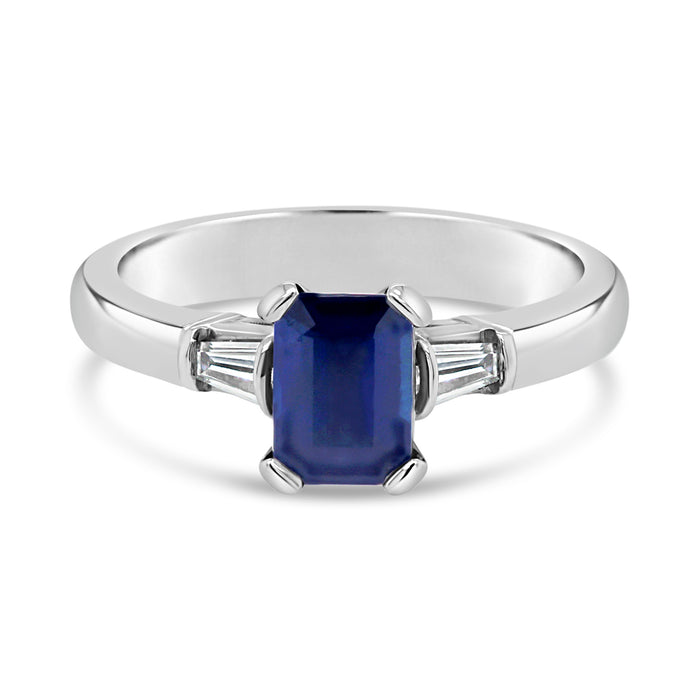 .21CT Emerald Cut Sapphire & Diamond Ring