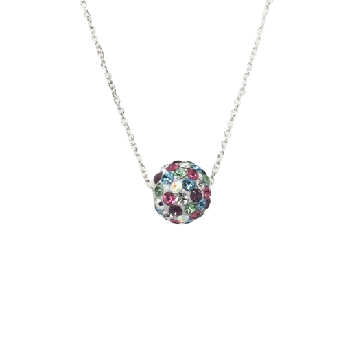 8mm Crystal Ball Necklace: Mixed