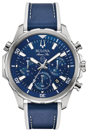 Bulova Mens Marine Star Chronograph Watch: Blue