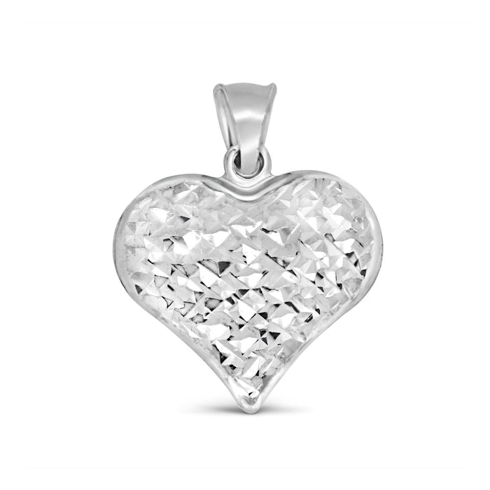 Diamond Cut Heart Pendant: White Gold