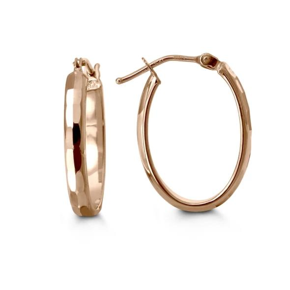 18mm Elongated Hoops: Rose Gold