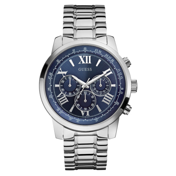 Guess Men's Chronograph Watch: Silver/Blue