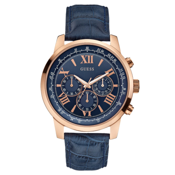 Guess Men's Chornograph Watch: Blue/Rose Gold
