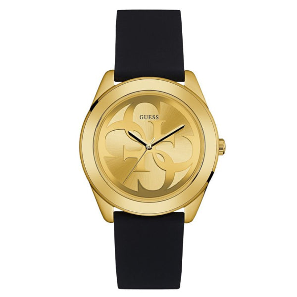 Guess Ladies Logo Watch: Gold/Black