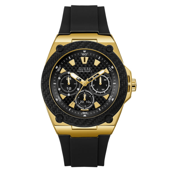 Guess Men's Multifunction Watch: Black/Gold