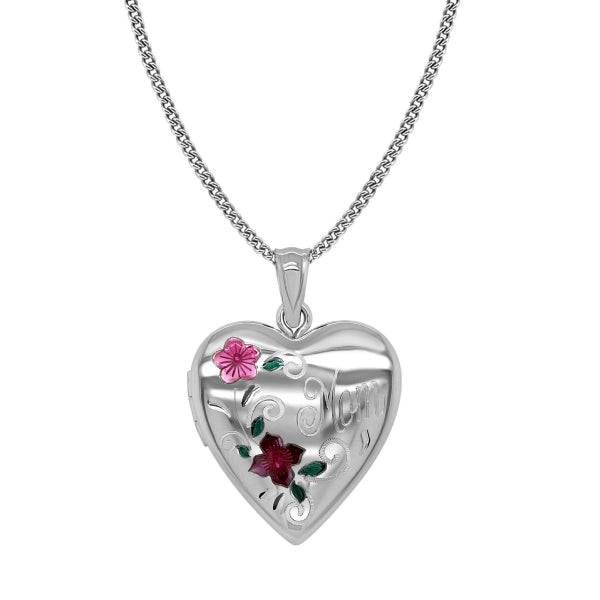 Floral Mom Heart Locket
