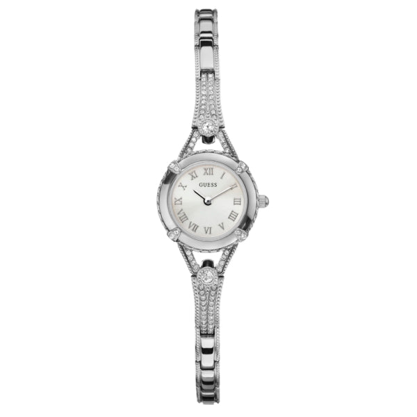Guess Ladies Petite Crystal Watch: Silver