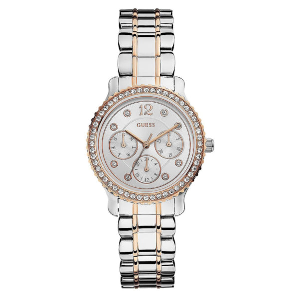 Guess Women's Petite Multifunction Watch: Silver/Rose Gold