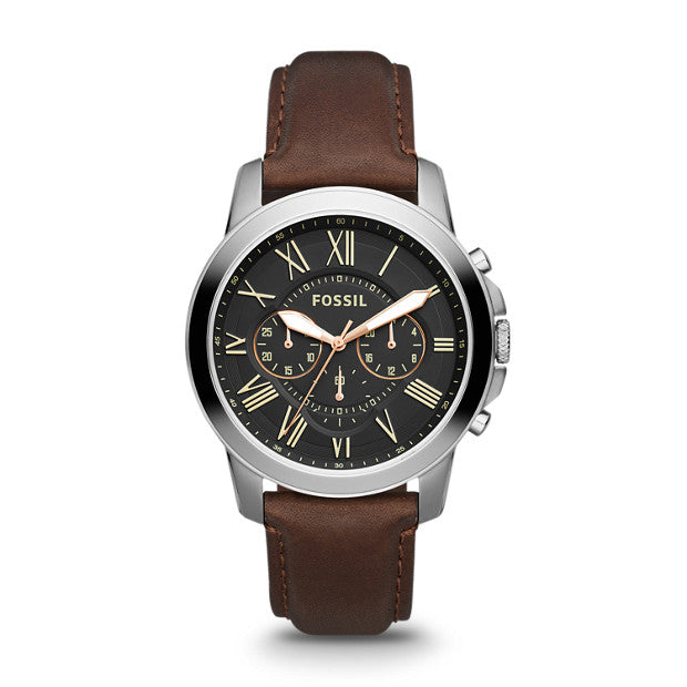 Fossil Men's Grant Chronograph Watch: Brown
