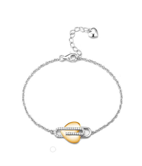 Paperclip Heart Bracelet: Two Tone