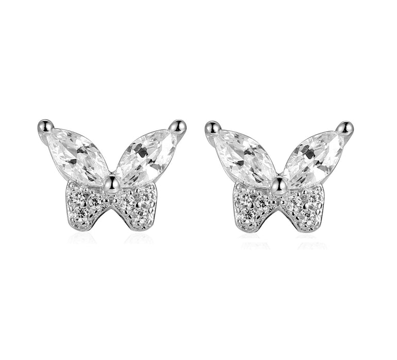 CZ Butterfly Stud Earrings: Silver