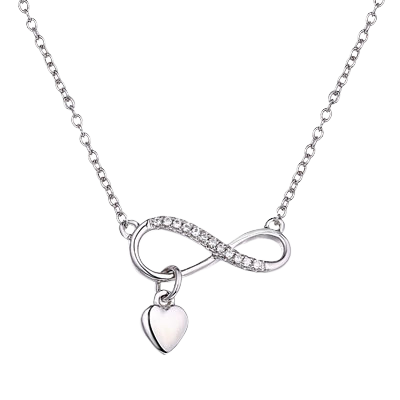 Infinity Necklace with Heart Dangle