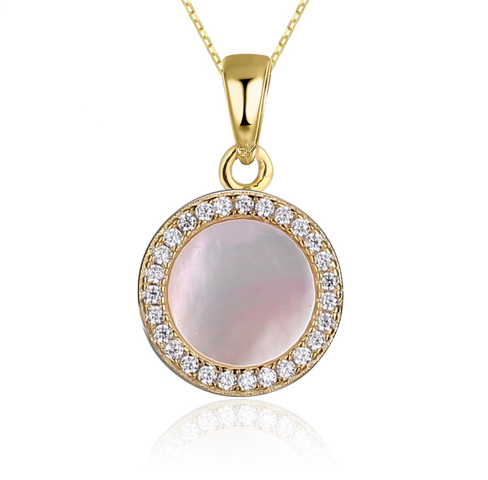 Mother of Pearl Necklace: Gold