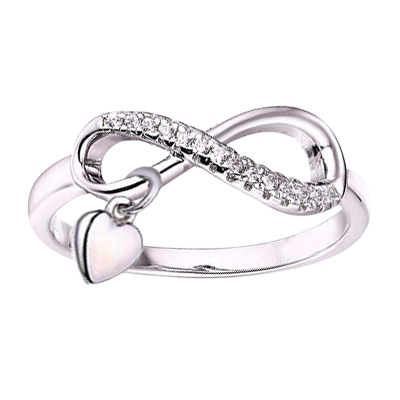 Infinity Ring with Heart Dangle