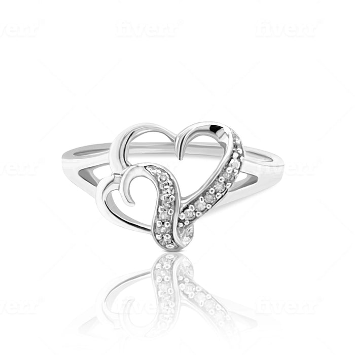 .05CT Double Heart Ring with Diamonds