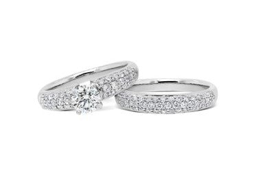 1.56CT Round Brilliant Pave Bridal Set