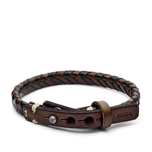 Fossil Braided Leather Bracelet: Brown/Black