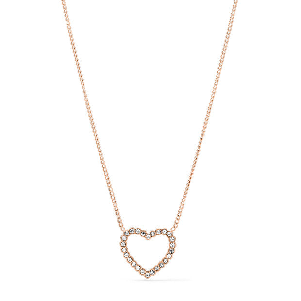 Fossil CZ Heart Necklace: Rose