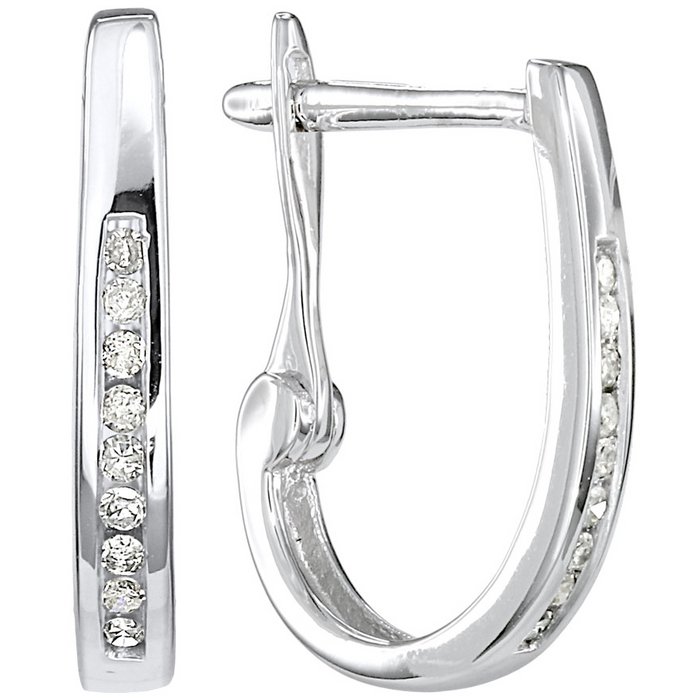 Diamond J Hoops: White Gold