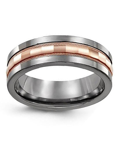 7mm Cobalt & Rose Gold Wedding Band