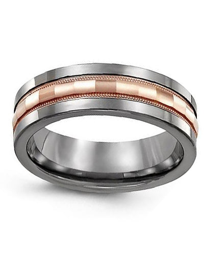 7mm Tungsten & Rose Gold Wedding Band