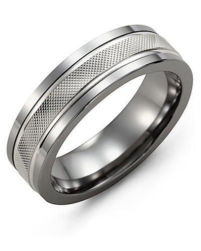 9mm Cobalt & White Gold Wedding Band
