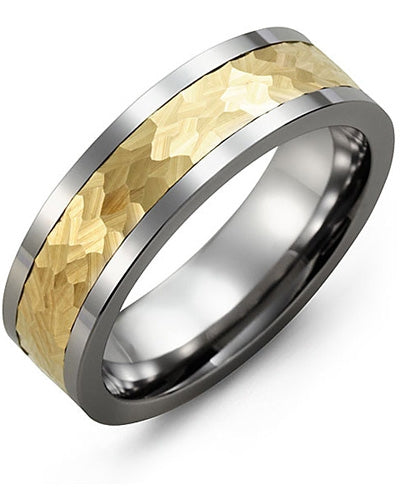 7mm Tungsten & Yellow Gold Wedding Band