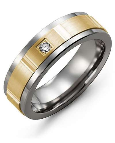 7mm Tungsten & Yellow Gold Wedding Band w/ Diamonds