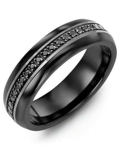 6mm Ceramic & Black Gold Wedding Band w/ Black Diamonds