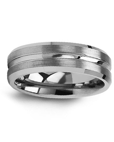 7mm Grooved Tungsten Wedding Band