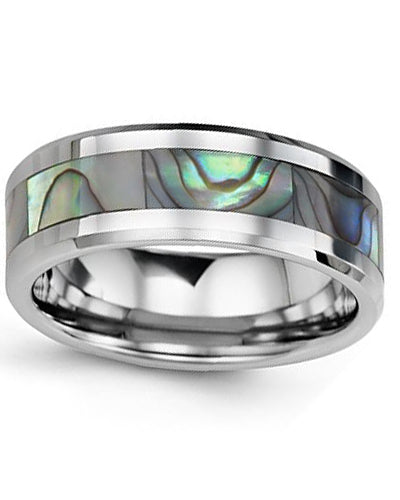8mm Tungsten & Shell Wedding Band