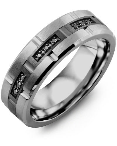 7mm Tungsten & Black Gold Wedding Band w/ Black Diamonds