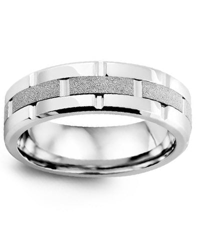7mm Cobalt & White Gold Wedding Band