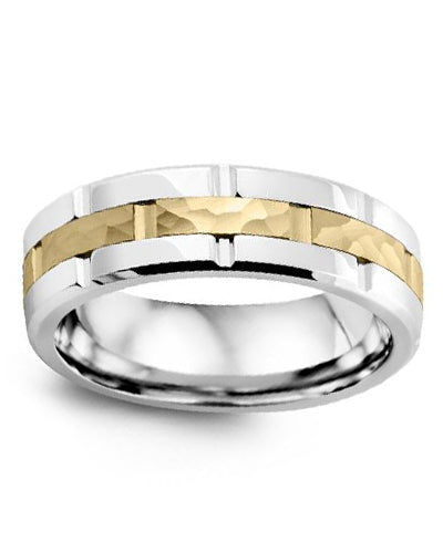 7mm Hammered Cobalt & Yellow Gold Wedding Band
