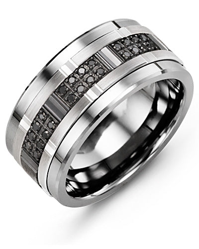 11mm Cobalt & White Gold Wedding Band w/ Black Diamonds