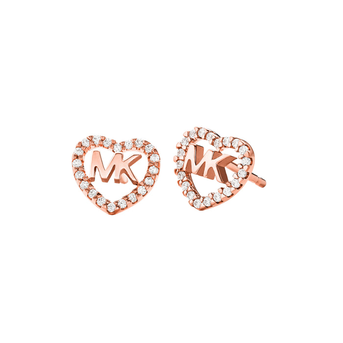 Michael Kors Logo Heart Earrings: Rose