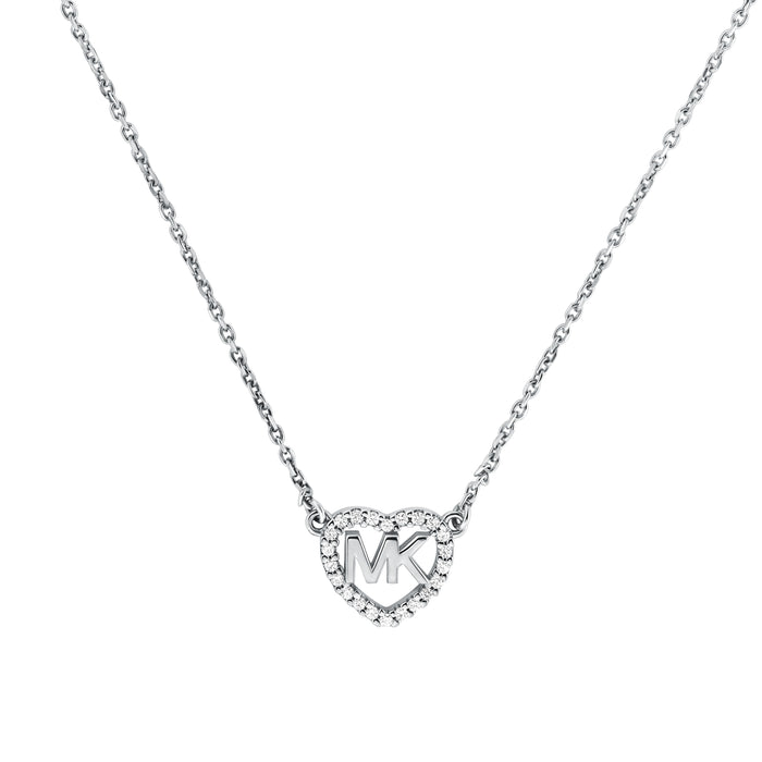 Michael Kors Heart Logo Necklace: Silver
