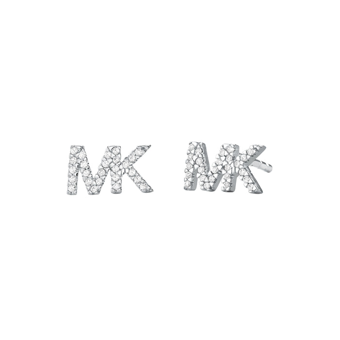 Michael Kors CZ Logo Earrings: Silver