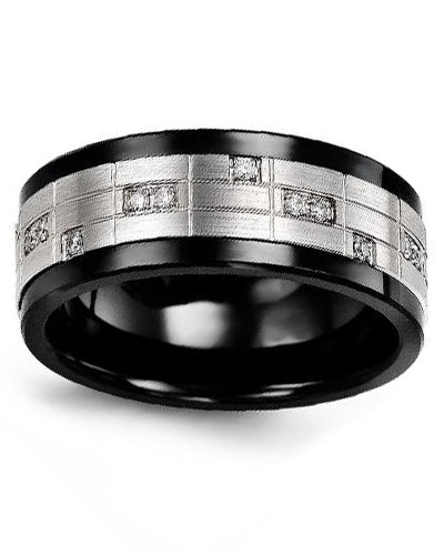 9mm Ceramic & White Gold Wedding Band w/ Diamonds