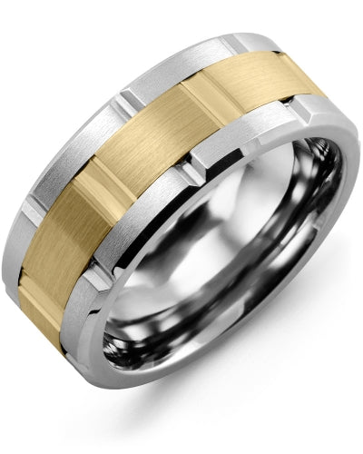 9mm Tungsten & Yellow Gold Wedding Band