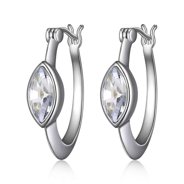 Elle Expression Crystal Hoops: Clear