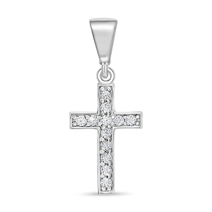 CZ Cross Pendant: White Gold