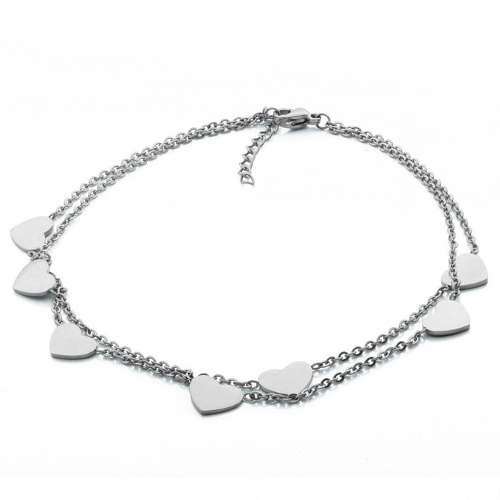Steelx Double Strand Heart Anklet
