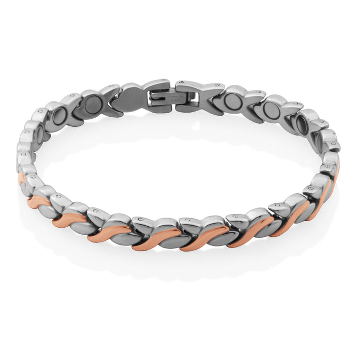 Steelx Two Tone Link Bracelet: Rose